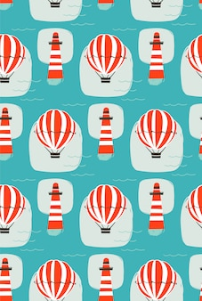 Hand drawn  cartoon seamless pattern with lighthouse,hot air balloon and sea waves  on blue background