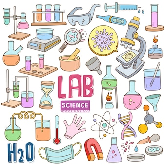 Hand drawn cartoon set in doodle color - laboratory & science