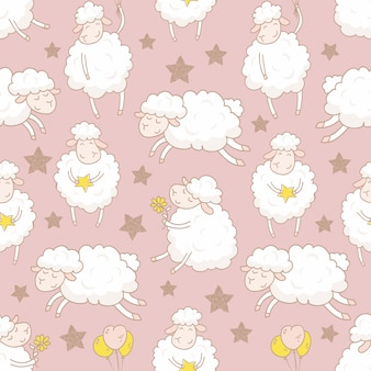 Hand drawn cartoon sheep seamless pattern