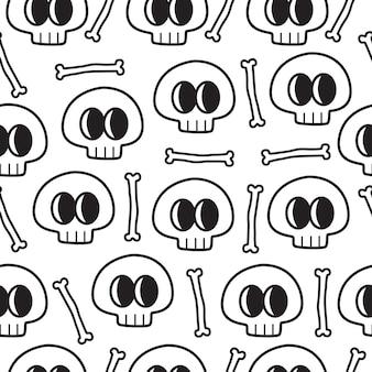 Hand drawn cartoon skull doodle pattern