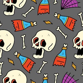 Hand drawn cartoon skull pattern illustration