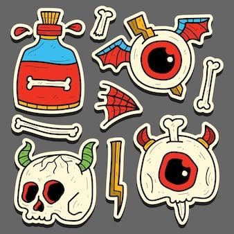손으로 그린 만화 해골 문신 낙서 스티커 디자인