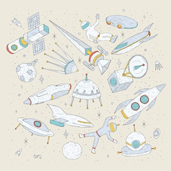 手描き漫画宇宙惑星、シャトル、ロケット、衛星、宇宙飛行士、その他の要素。落書き宇宙のシンボルとオブジェクトを設定します。