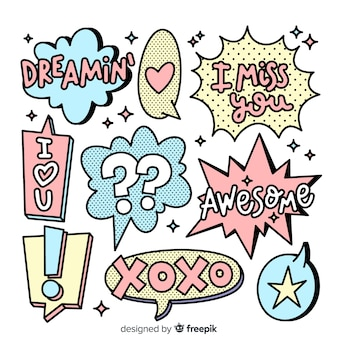Hand drawn cartoon speech bubbles with variety of messages