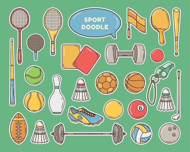 Ручной обращается мультфильм спортивное оборудование каракули дизайн