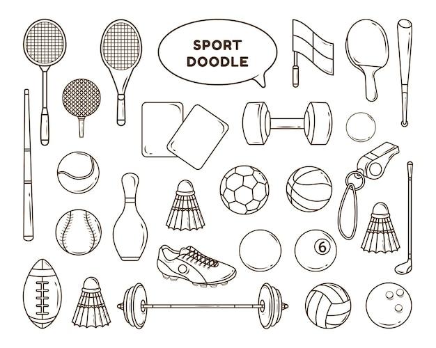 손으로 그린 만화 스포츠 도구 낙서 번들 디자인 색칠