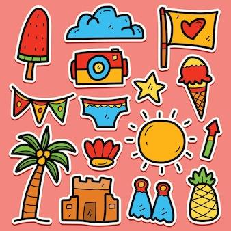 손으로 그린 만화 여름 귀엽다 낙서 스티커 디자인