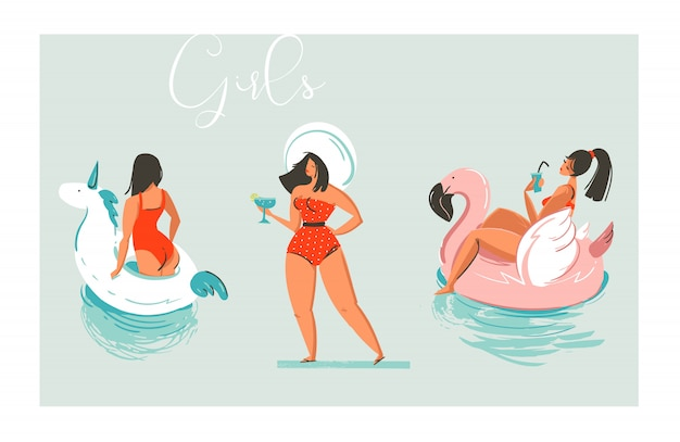 Hand drawn  cartoon summer time fun beach girls collection illustration set with swimming pool float unicorn and flamingo rings and retro girl in hat with cocktail  on blue background