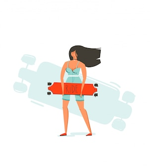Hand drawn cartoon summer time fun illustration with young girl riding on long board isolated on white background