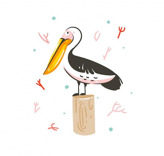 手描き漫画夏時間グラフィック装飾イラストアート分離されたエキゾチックな海洋ペリカン鳥