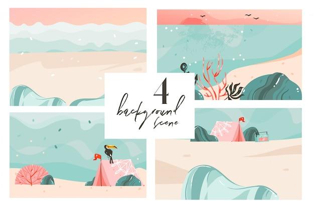 손으로 그린 만화 여름 시간 그래픽 일러스트 아트 배경 컬렉션 바다 해변 풍경, 핑크 일몰, 해변 장면 및 텍스트 복사 공간 장소 설정