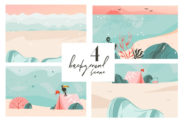 Hand drawn   cartoon summer time graphic illustrations art backgrounds collection set with ocean beach landscape,pink sunset,beach scene and copy space place for your text