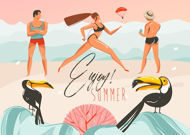 Hand drawn    cartoon summer time graphic illustrations art template background with beach landscape,pink sunset,boys and running girl on beach scene with enjoy summer typography quote