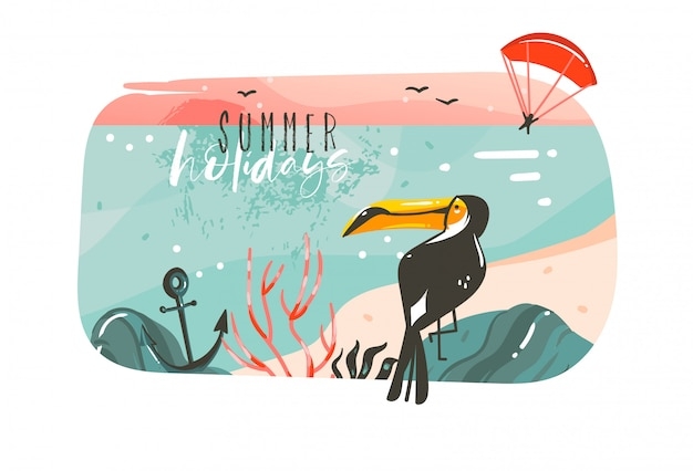 Hand drawn    cartoon summer time graphic illustrations art template banner background with ocean beach landscape,pink sunset view,beauty toucan with summer holidays typography quote