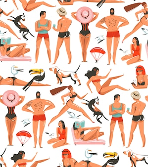 Hand drawn   cartoon summer time  illustrations artistic seamless pattern with relaxing people,beach birds,dogs and beauty running girl on beach  on white background