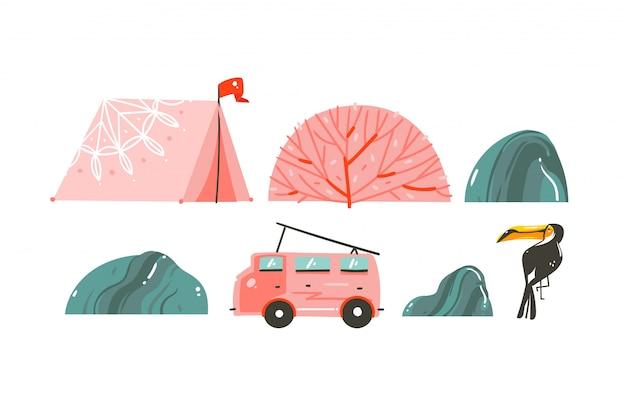 텐트, 돌, 산호초, 캠퍼 밴 버스 및 큰 부리 새 손으로 그린 만화 여름 시간 그림 테두리