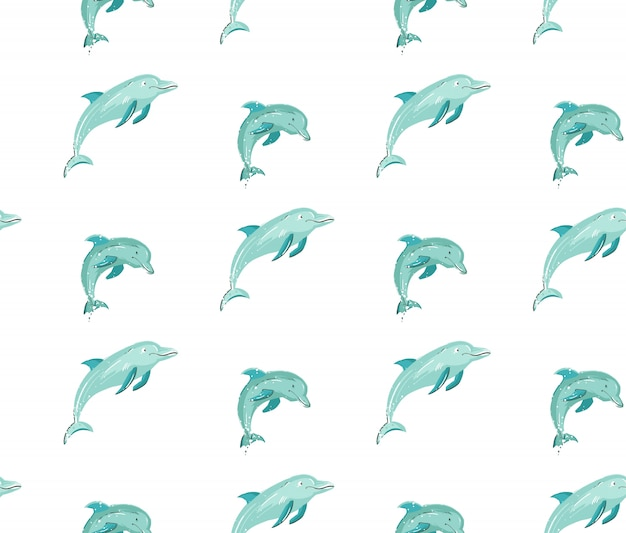 Hand drawn  cartoon summer time seamless pattern with jumping dolphins in blue colors  on white background.