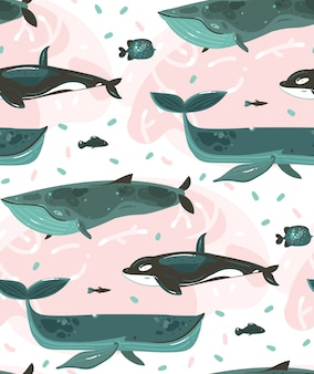 Hand drawn   cartoon  summer time underwater illustrations seamless pattern with coral reefs and beauty big whales characters  on white background