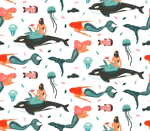手描き漫画夏時間水中イラストシームレスパターン白い背景の上のシャチ、クラゲ、美容自由奔放な人魚の女の子キャラクター