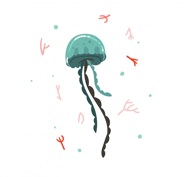 手描き漫画夏時間サンゴ礁と白い背景の上のクラゲの美しさ水中イラスト