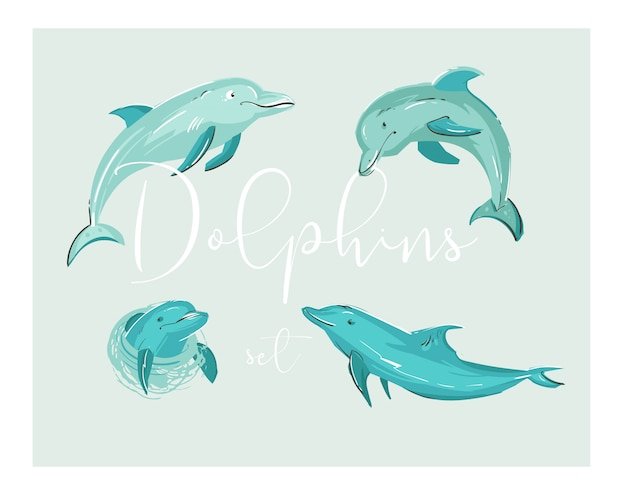 Hand drawn  cartoon tropical dolphins illustration set in blue colors .