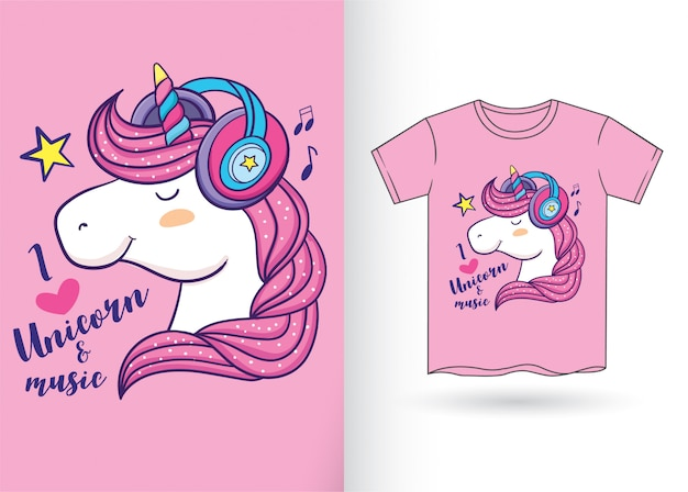 Hand drawn cartoon unicorn for t shirt