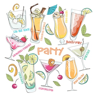 Hand drawn cartoon vector illustration. summer party. coctails and drinks.