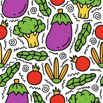 Hand drawn cartoon vegetable doodle pattern design