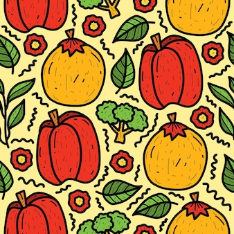 Hand drawn cartoon vegetable doodle pattern