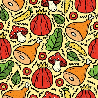 Hand drawn cartoon vegetable and meat doodle pattern