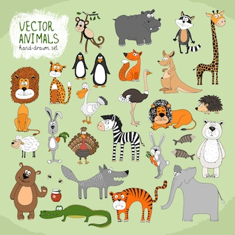 Hand-drawn cartoon wild animals collection