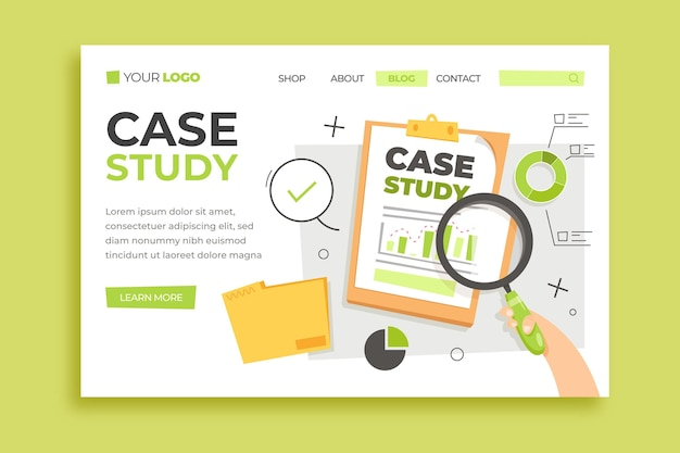 Hand drawn case study landing page template