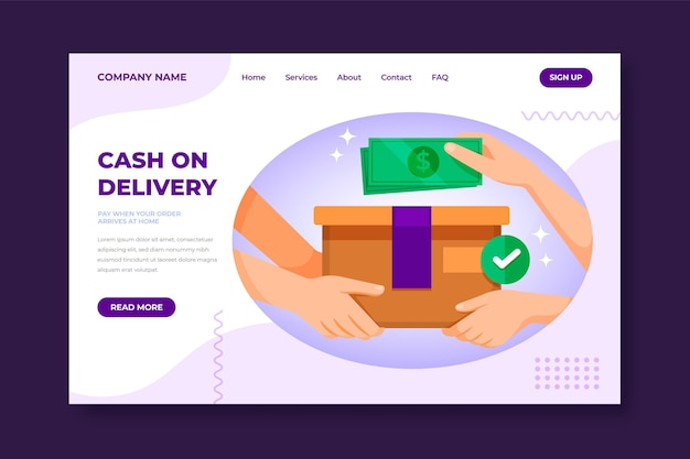Hand drawn cash on delivery landing page template