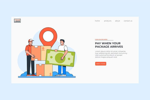 Hand drawn cash on delivery landing page