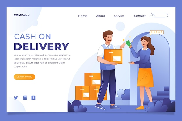 Hand drawn cash on delivery - landing page