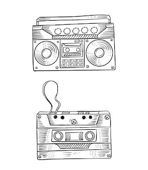 손으로 그린 카세트와 라디오 라인 아트