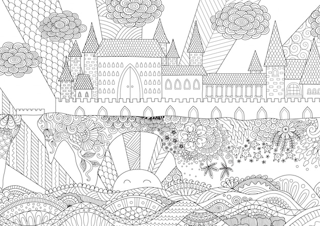 Hand drawn castle background