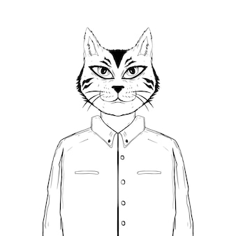 Hand drawn cat black and white Premium Vector