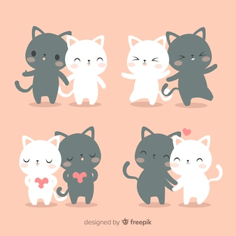 Hand drawn cat couple set