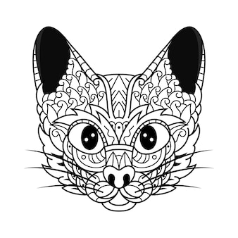 Hand drawn of cat head in zentangle style