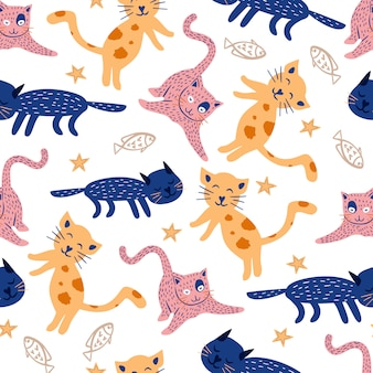Hand drawn cat pattern children drawing cute character