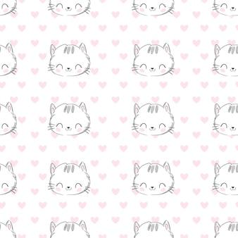Рука нарисованные кошачьи головы бесшовные модели