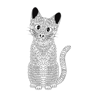 Hand drawn of cat in zentangle style