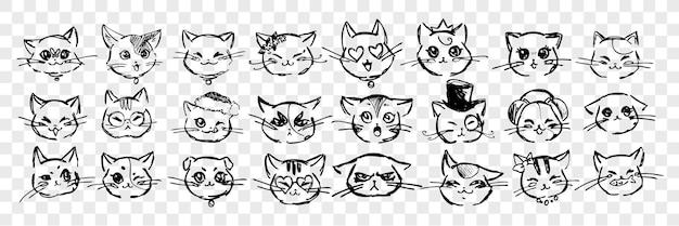 手描きの猫の感情と表情のセット。ペン、鉛筆、インクのコレクションは、さまざまな猫の感情を手描きしました。