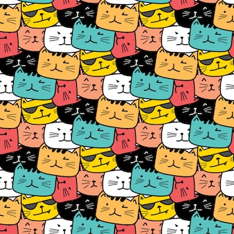 Hand drawn cats pattern. Doodle art