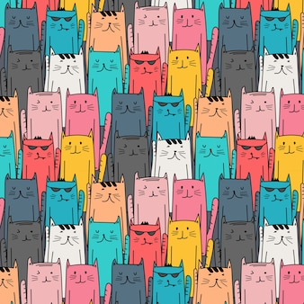 Hand drawn cats pattern. Doodle art.