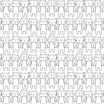 Hand drawn cats pattern