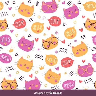 Hand drawn cats and words pattern