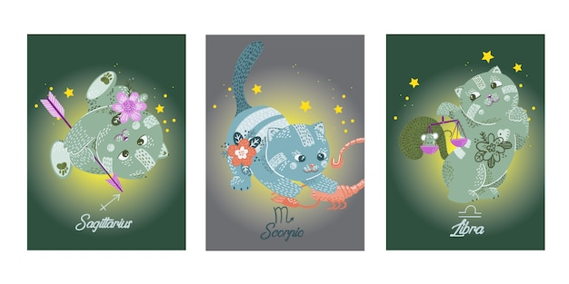 Hand drawn cats zodiac characters on cards