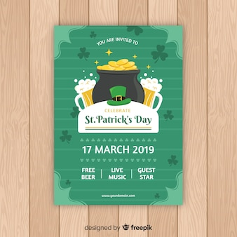 Hand drawn cauldron st patrick's party poster